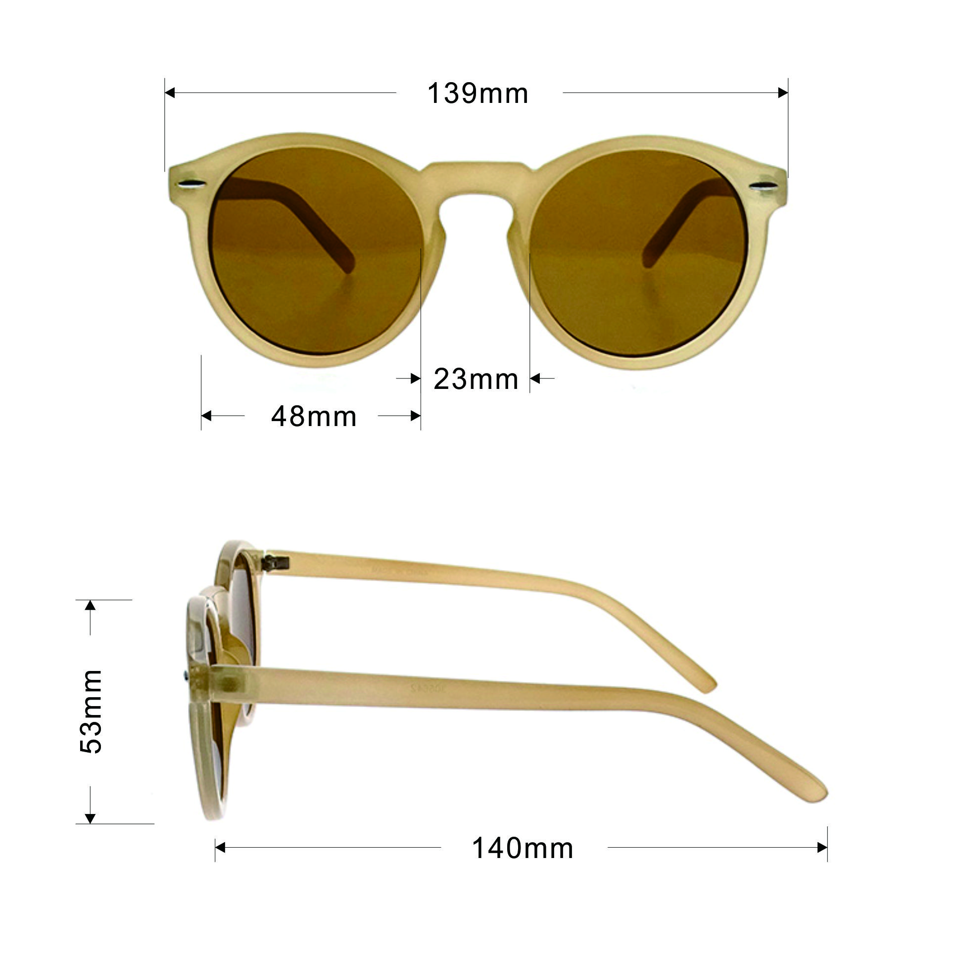 High-Quality Bown Yellow Color Vintage Style Round Frame Sunglasses LS-P850